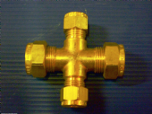 4  way gas cross  2x 10mm 2x6 mm Brass